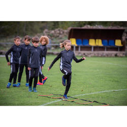 兒童款半開式拉鍊足球運動衫T900-藍色/軍藍色