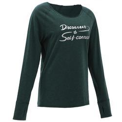 有機棉長袖瑜珈T恤 - 綠色