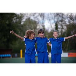 兒童款短袖足球運動衫F500-藍色/白色