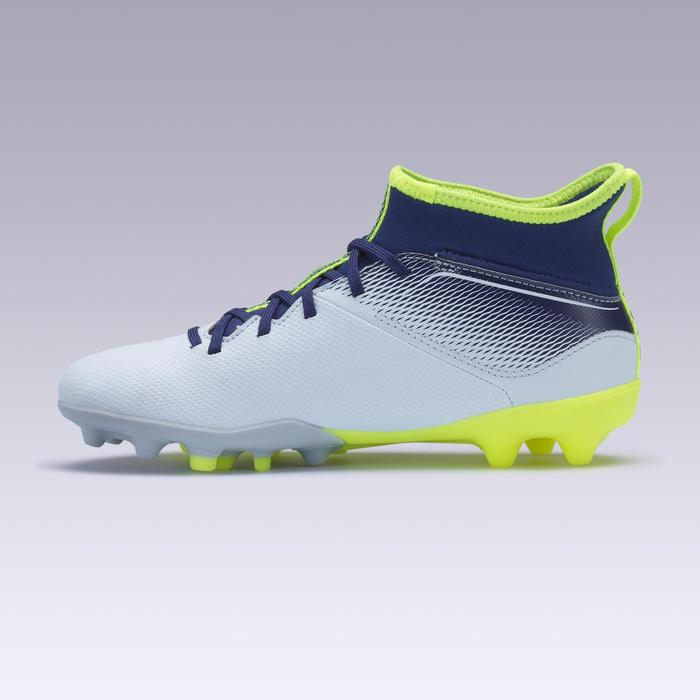 兒童款混合地面中高筒足球鞋Agility 500-灰色/藍色