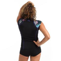 Haut manches courtes de gymnastique aquatique et d'aquaforme femme Anna noir