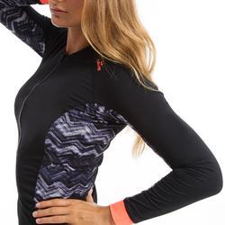 女款水中有氧健身與水中健身長袖拉鍊上衣 - 黑色