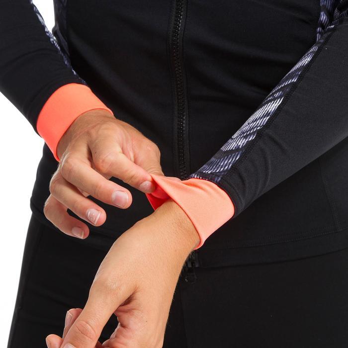 Aquafitness-Shirt langarm Reißverschluss Damen schwarz