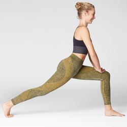 Mallas Piratas Leggings Deportivos Yoga Domyos 500 sin costuras Mujer Amarillo