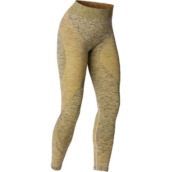 Mallas Piratas Leggings Deportivos Yoga Domyos 500 Mujer Amarillo Sin Costuras