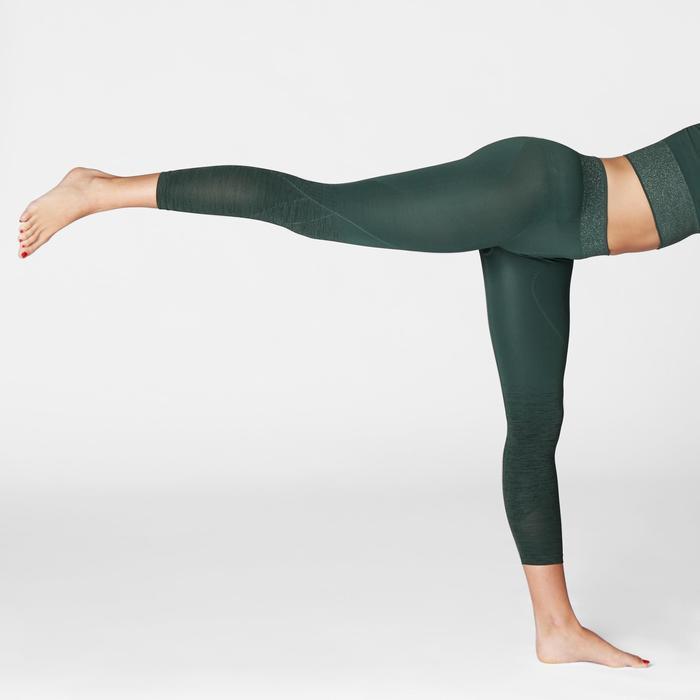 Mallas Piratas Leggings Deportivos Yoga Domyos 500 Slim Sin costuras Mujer Verde