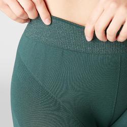 Mallas Piratas Leggings Deportivos Yoga Domyos 500 Slim Mujer Verde Sin Costuras