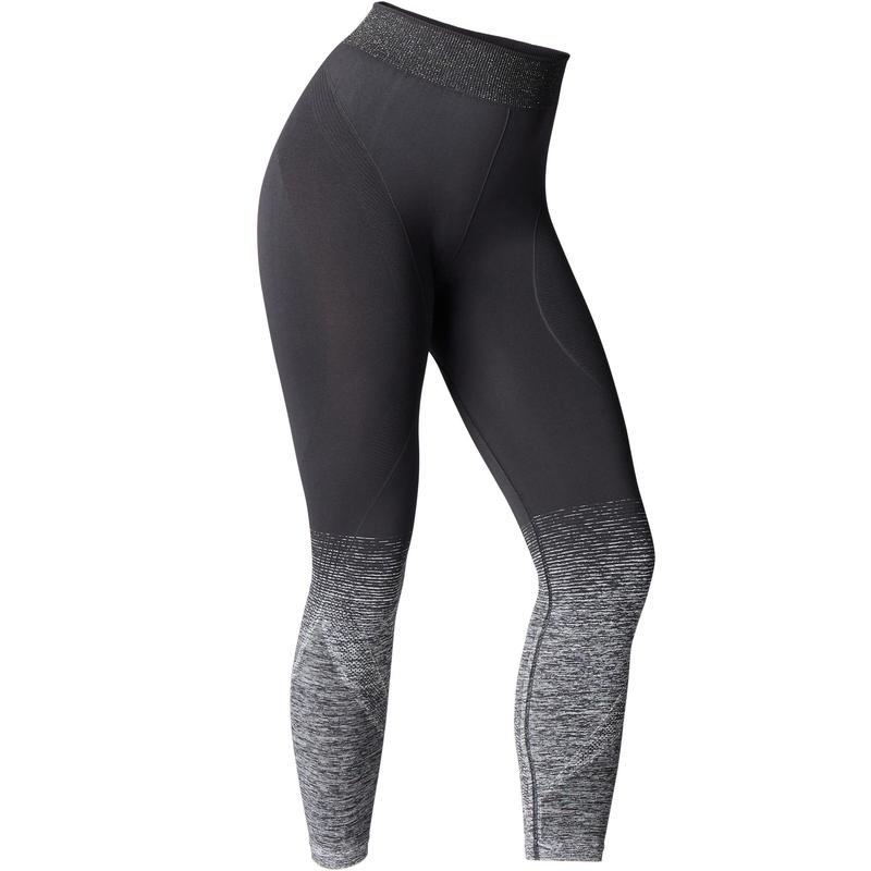 comprar popular 92329 0ae33 Women's yoga clothing - Seamless 7/8 Yoga Leggings - Black/Silver
