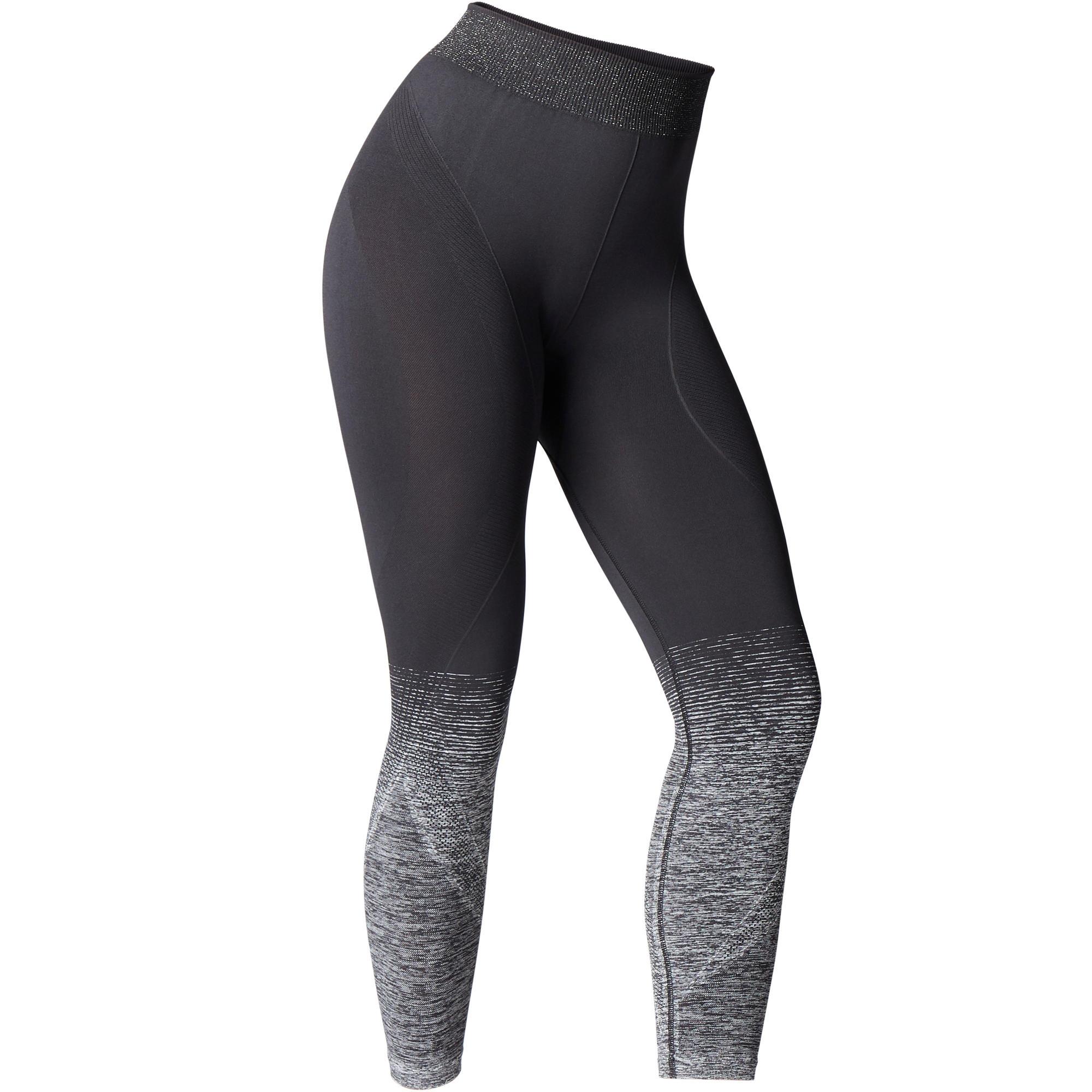 Domyos Naadloze 7/8-legging voor yoga zwart / zilver