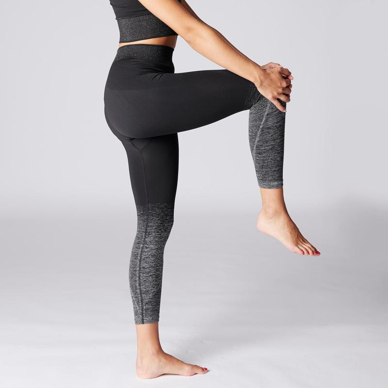 Seamless 7 8 Yoga Leggings Black Silver Domyos By Decathlon