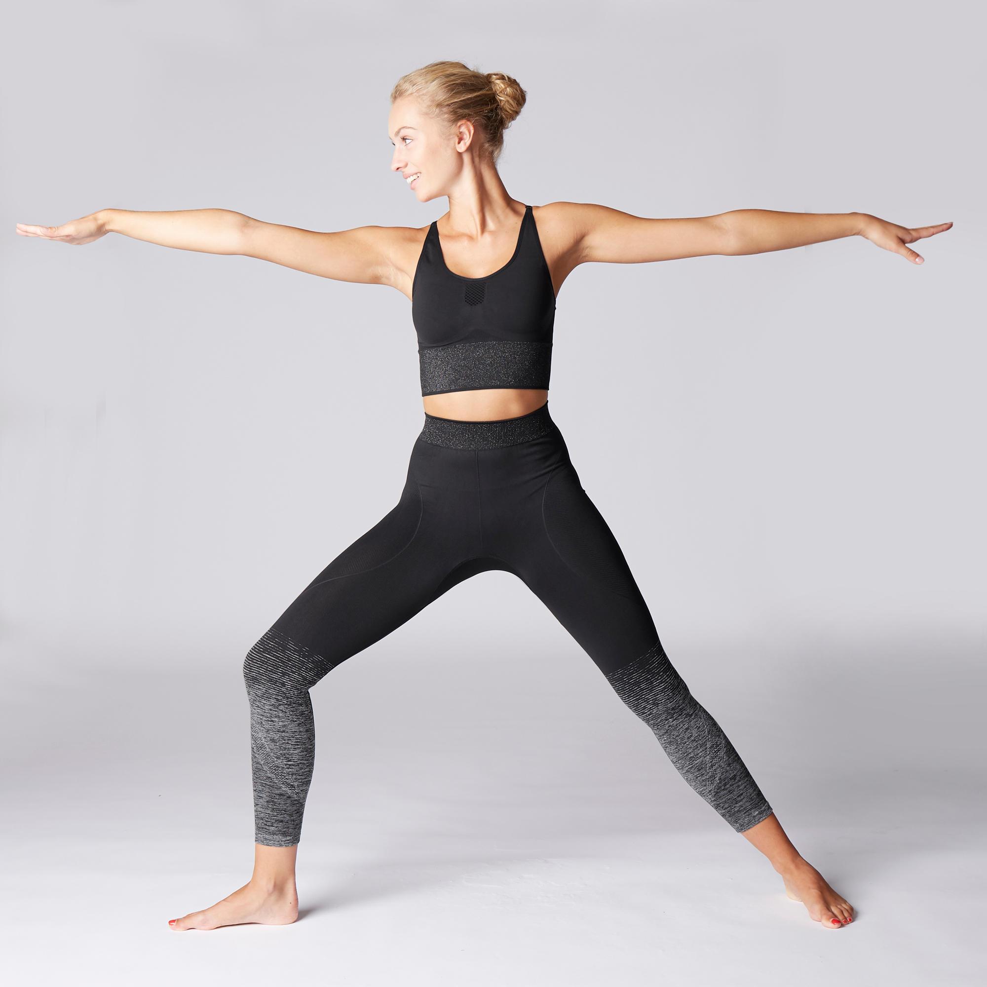 13da214daee9c4 Seamless 7/8 Yoga Leggings - Black/Silver | Domyos by Decathlon