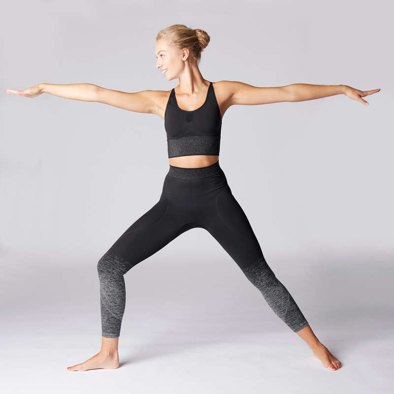 WOMAN YOGA APPAREL - Women's Yoga Seamless Leggings - Black/Silver DOMYOS