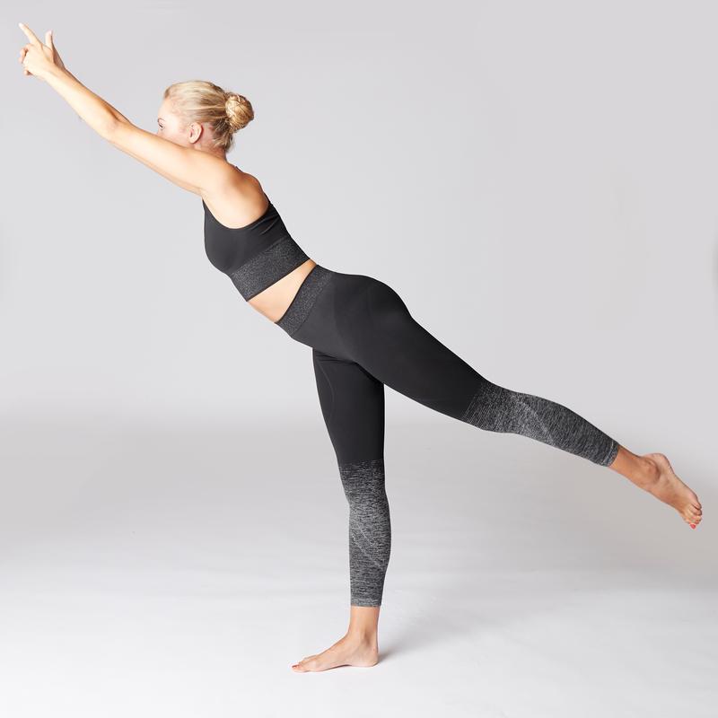 Seamless 7/8 Yoga Leggings - Black/Silver