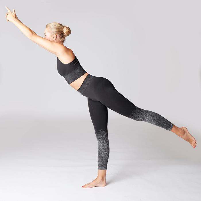 Mallas Piratas Leggings Deportivos Yoga Domyos 500 Slim Mujer Negro Sin Costuras