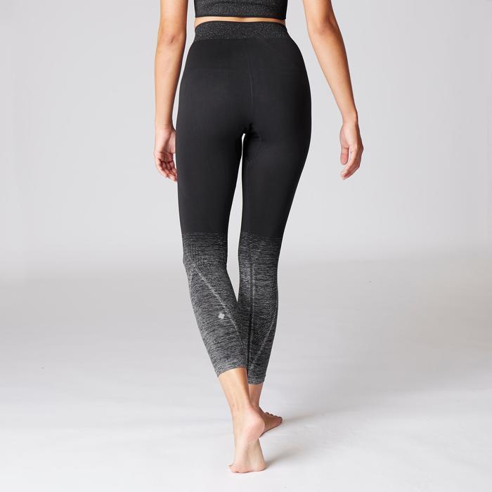 7/8-Leggings Yoga nahtlos schwarz/silber