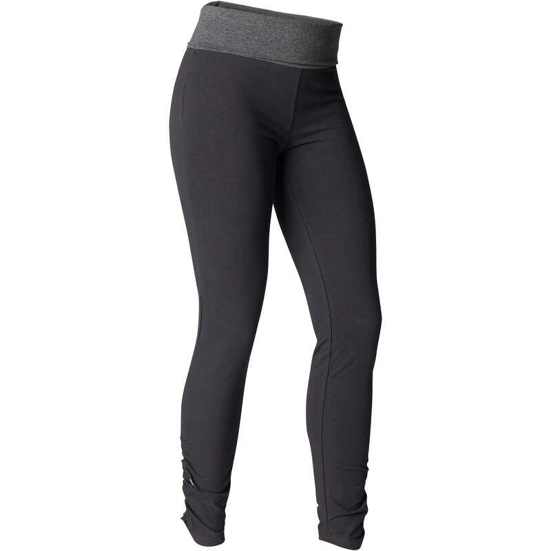WOMAN YOGA APPAREL Fitness and Gym - Women's Yoga Organic Cotton Pants - Black/Grey DOMYOS - Gym Activewear