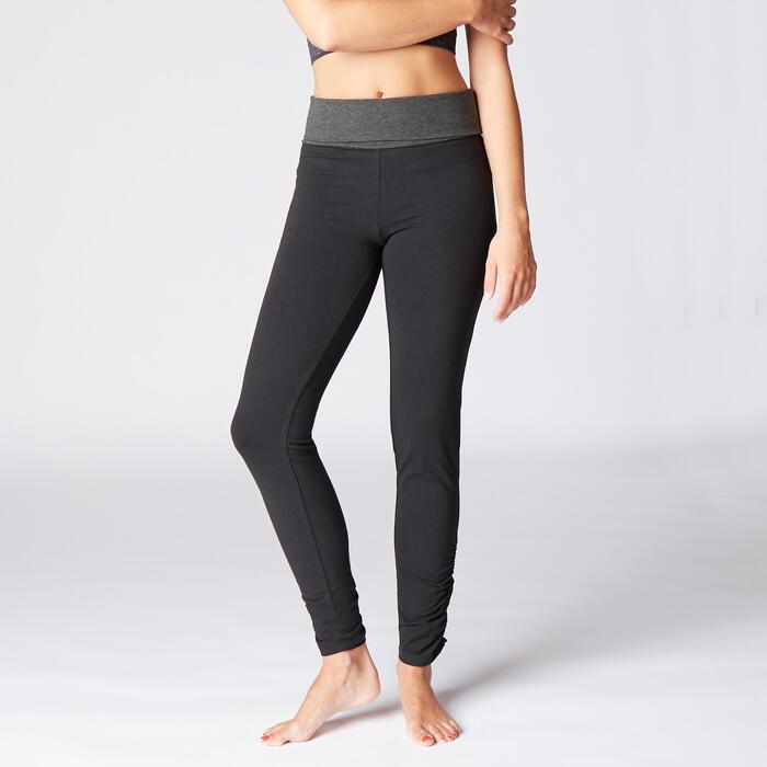 Leggings sanftes Yoga Baumwolle aus biologischem Anbau Damen schwarz/grau