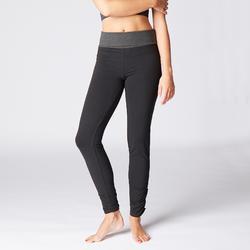Mallas Deportivas Pantalones Premamá Yoga Domyos Slim Algodón Bio Mujer negro