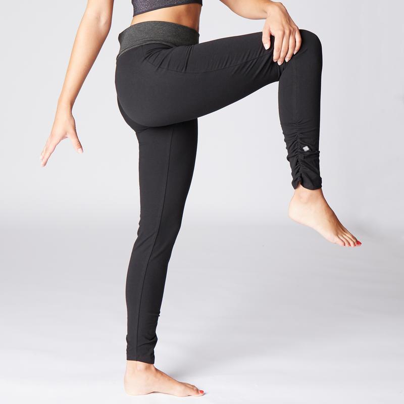กางเกงเลกกิ้งผ้าฝ้ายออร์แกนิคสำหรับผู้หญิงเพื่อการเล่นโยคะทั่วไป (สีดำ/เทา)