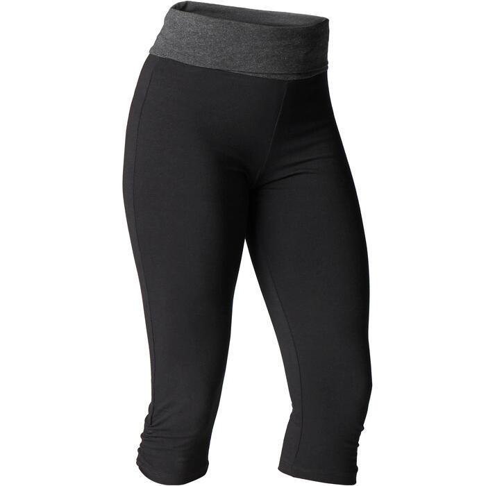 3/4-Hose sanftes Yoga aus Baumwolle aus biologischem Anbau Damen schwarz/grau