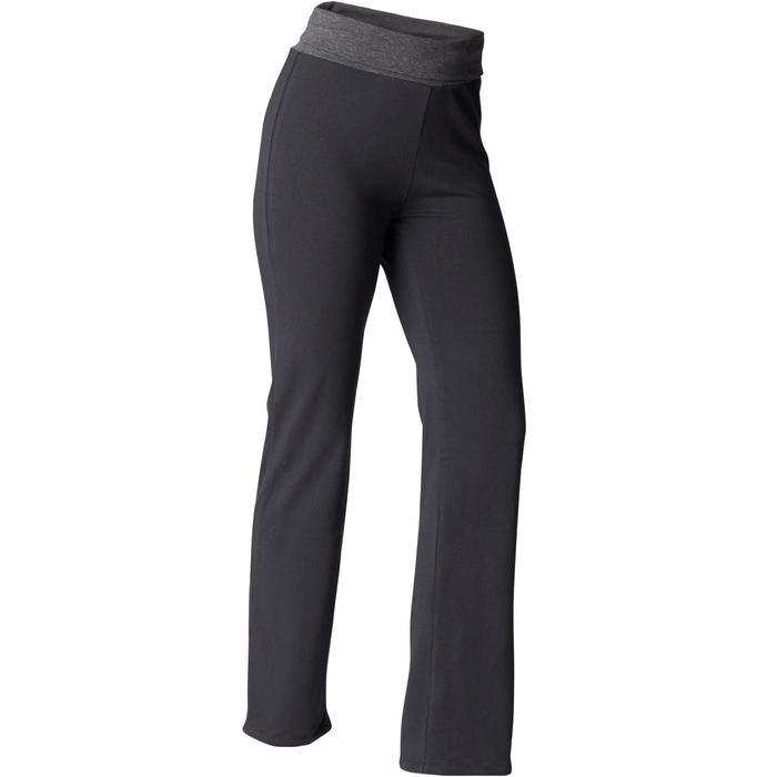 Yogahose sanftes Yoga aus Baumwolle aus biologischem Anbau Damen schwarz/grau