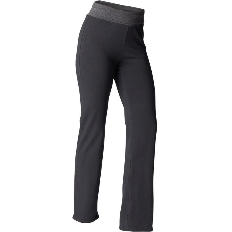 Pantaloni donna yoga cotone bio nero-grigio