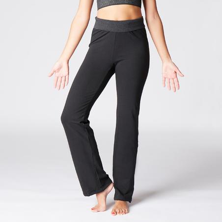 Pantalon Yoga Suave Mujer Algodon Procedente De Agricultura Biologica Negro Gris Decathlon