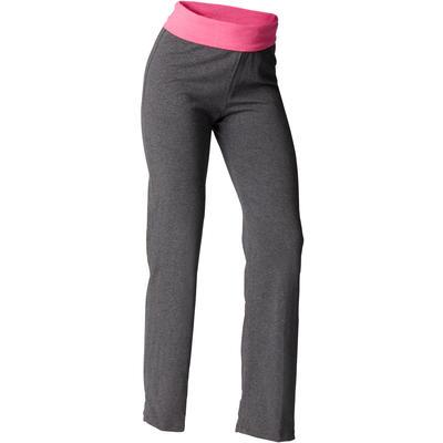 Pantalon Algodon Agricultura Biologica Yoga Suave Mujer Gris Rosado