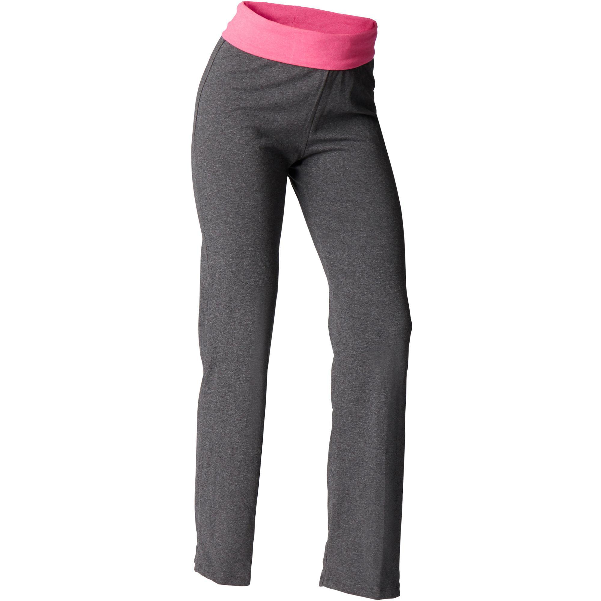 Yogahose sanftes Yoga aus Baumwolle aus biologischem Anbau Damen grau/rosa | Sportbekleidung > Sporthosen > Yogahosen | Grau - Rosa | Baumwolle | Domyos