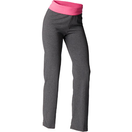 Women's Organic Cotton Gentle Yoga Bottoms - Grey/Pink