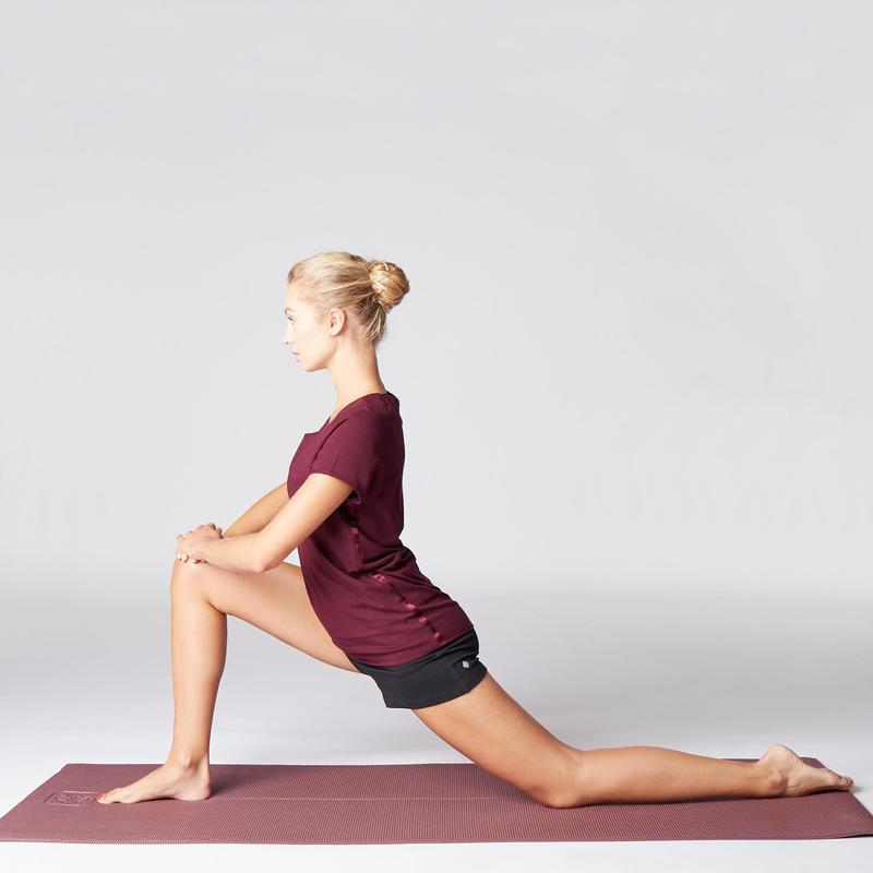 Short Mujer Premamá Yoga Domyos Algodón Bio Negro Gris