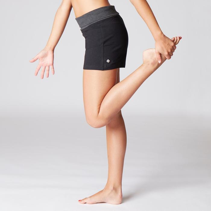 Short voor zachte yoga dames biologisch katoen zwart/gemêleerd grijs