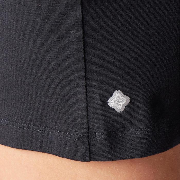 女款舒緩瑜珈有機棉短褲 - 黑色/雜灰色
