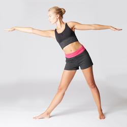 Mallas Cortas Pantalones Cortos Premamá Yoga Domyos 100 Algodón Bio Mujer gris