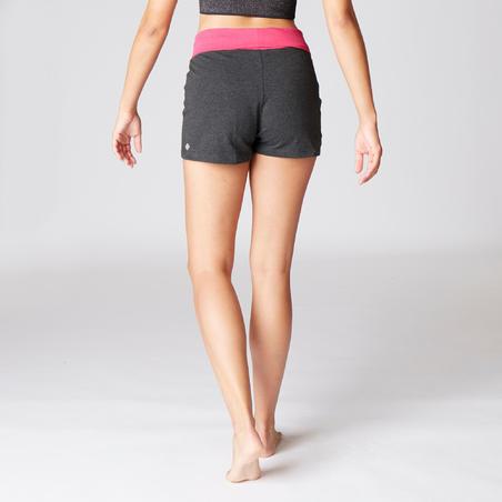 Women's Organic Cotton Gentle Yoga Shorts - Grey/Pink