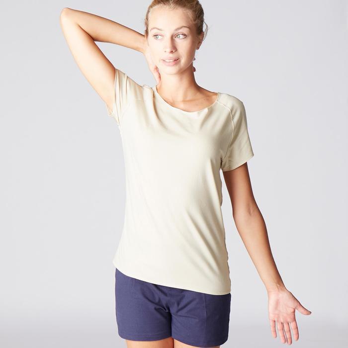 T-Shirt sanftes Yoga aus Baumwolle aus biologischem Anbau Damen beige