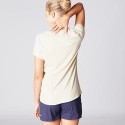 Dames T-shirt in biokatoen voor zachte yoga beige