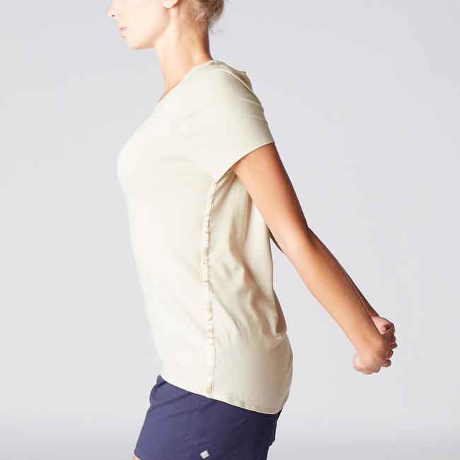 Women's Gentle Yoga Organic Cotton T-Shirt - Beige