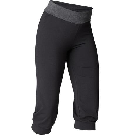 a9032cc3132 Dames kuitbroek voor zachte yoga, biokatoen, zwart / grijs   Domyos by  Decathlon