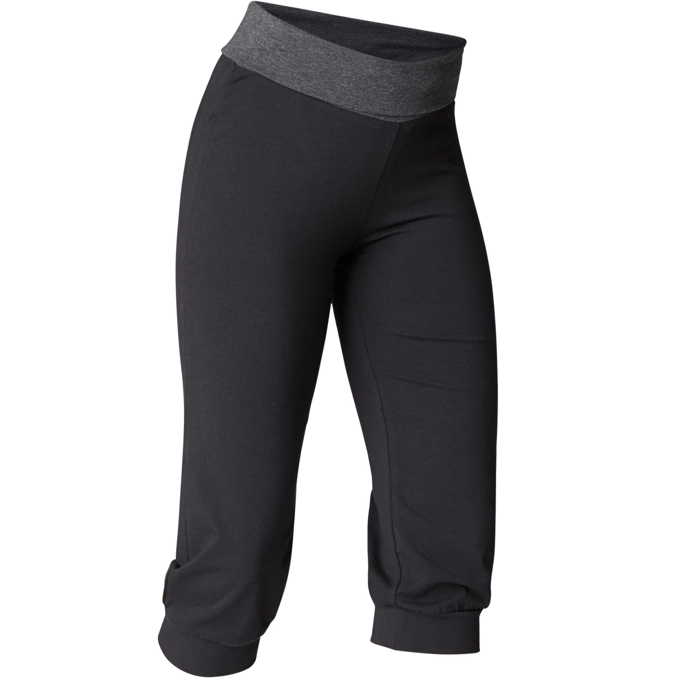 Women's Organic Cotton Gentle Yoga Cropped Bottoms - Black/Grey
