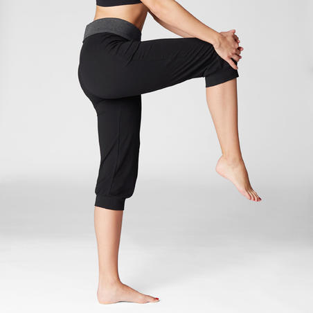 Women's Organic Cotton Gentle Yoga Cropped Bottoms - Hitam/Abu-abu