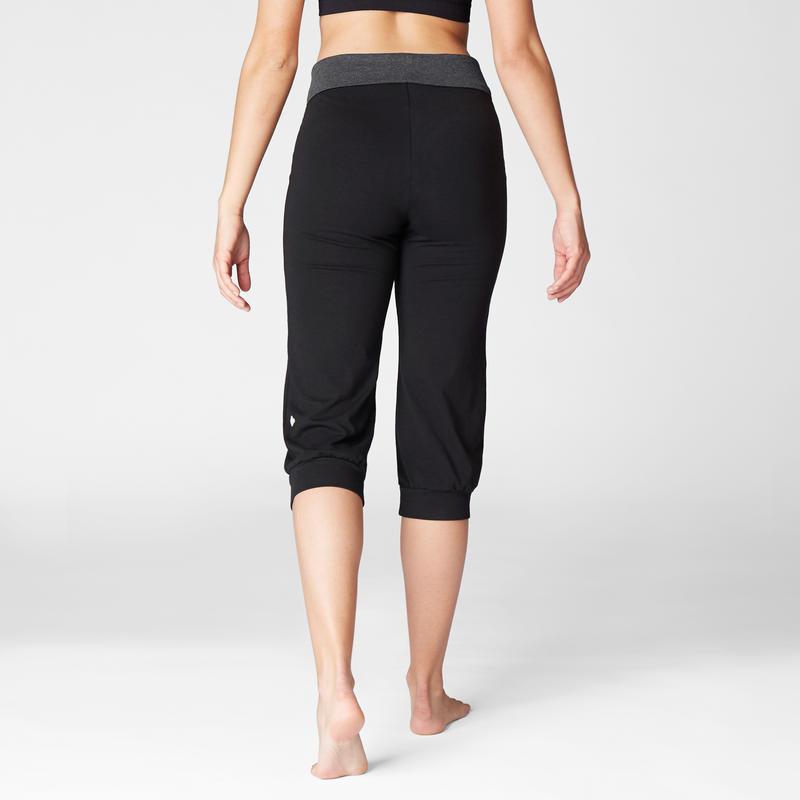 Calzas Capri Yoga Mujer Premamá Algodón Bio Domyos Negro Gris