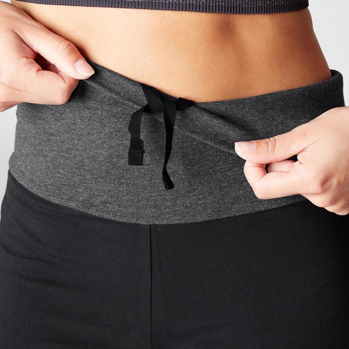 3/4-Hose sanftes Yoga aus Biobaumwolle schwarz/grau