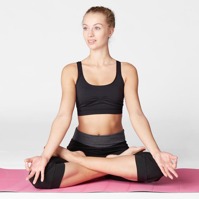 Dames kuitbroek voor zachte yoga, biokatoen, zwart / grijs