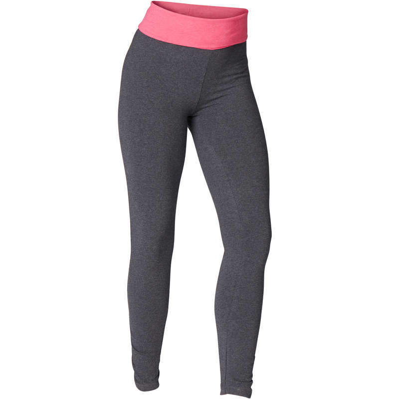 WOMAN YOGA APPAREL Fitness and Gym - Women's Yoga Organic Cotton Pants - Grey/Pink DOMYOS - Gym Activewear