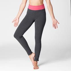 Mallas Deportivas Pantalones Premamá Yoga Domyos 100 Slim Algodón Bio Mujer rosa