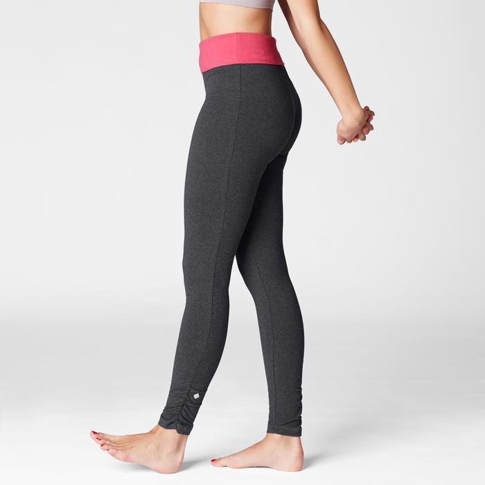 Leggings sanftes Yoga Baumwolle aus biologischem Anbau Damen grau/rosa