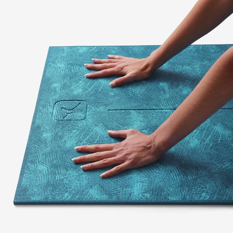Comfort Gentle Yoga Mat 8 Mm Jungle Blue Print Domyos By Decathlon