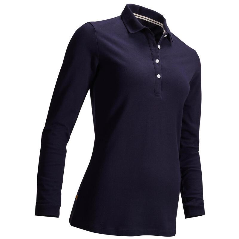 Polo de golf manches longues femme MW500 bleu marine