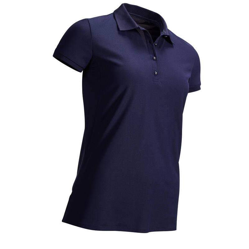 DÁMSKÉ GOLFOVÉ OBLEČENÍ DO TEPLÉHO POČASÍ Golf - DÁMSKÉ POLO WW500 TMAVĚ MODRÉ INESIS - Golfové oblečení